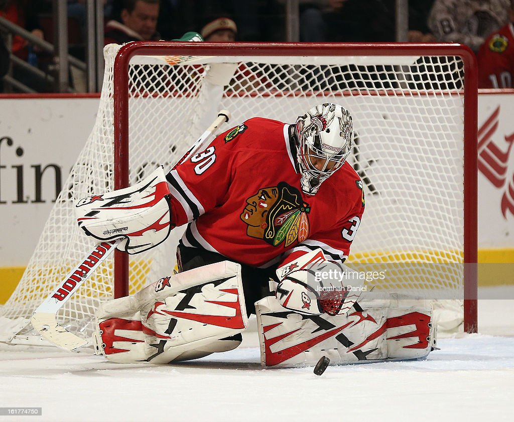 <a gi-track='captionPersonalityLinkClicked' href=/galleries/search?phrase=Ray+Emery&family=editorial&specificpeople=218109 ng-click='$event.stopPropagation()'>Ray Emery</a> #30 of the Chicago Blackhawks makes a save against the San Jose Sharks at the United Center on February 15, 2013 in Chicago, Illinois.