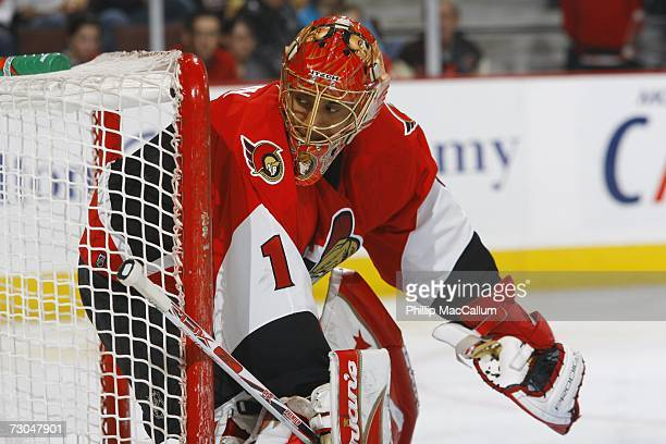Ray Emery of the Ottawa Senators eyes the play behind the goal against the Vancouver Canucks on January 18 2007 at the Scotiabank Place in Ottawa...