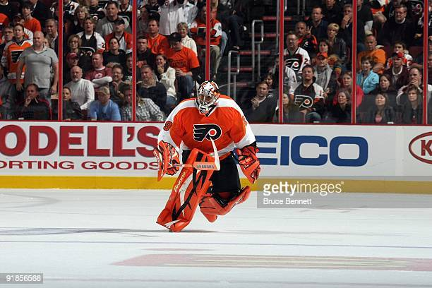 Ray Emery of the Philadelphia Flyers skates to the bench during the game against the Pittsburgh Penguins at the Wachovia Center on October 8 2009 in...