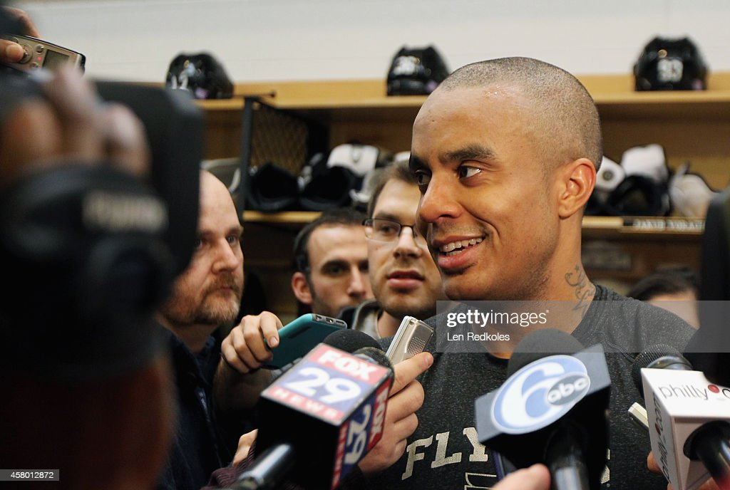Ray Emery #29 of the Philadelphia Flyers speaks to the media after defeating the Los Angeles Kings 3-2 in overtime on October 28, 2014 at the Wells Fargo Center in Philadelphia, Pennsylvania.