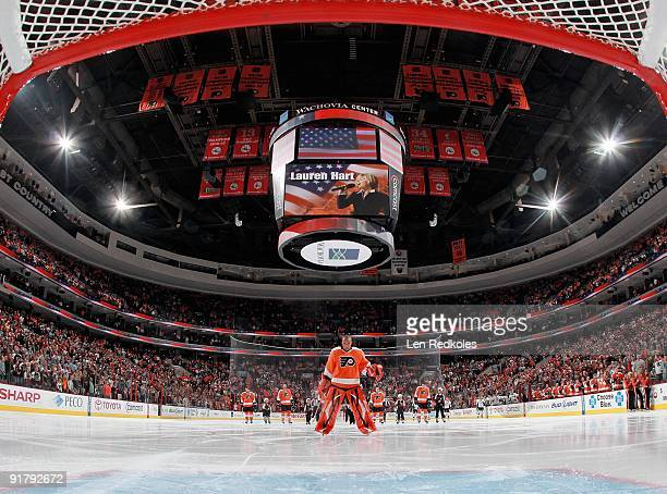 Ray Emery of the Philadelphia Flyers stands during the national anthem prior to the start of a game against the Pittsburgh Penguins on October 8 2009...