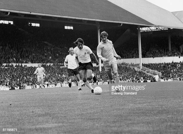 Ray Evans left and Allan Clarke playing for Tottenham Hotspur and Leeds United during a league match at Spurs' home ground White Hart Lane 4th...