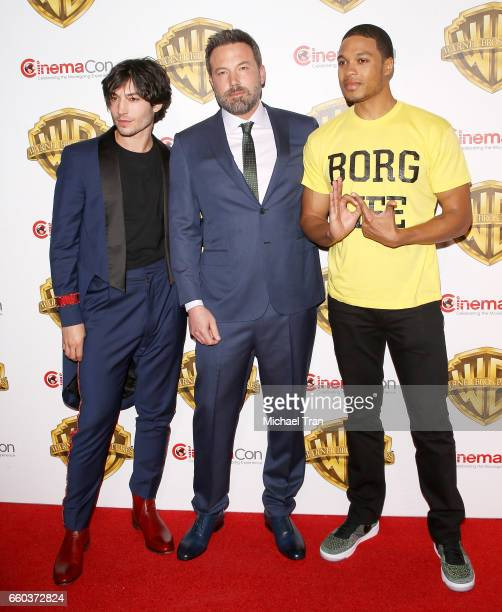 Ray Fisher Ezra Miller and Ben Affleck attend the CinemaCon 2017 Warner Bros Pictures presentation held at The Colosseum at Caesars Palace during...