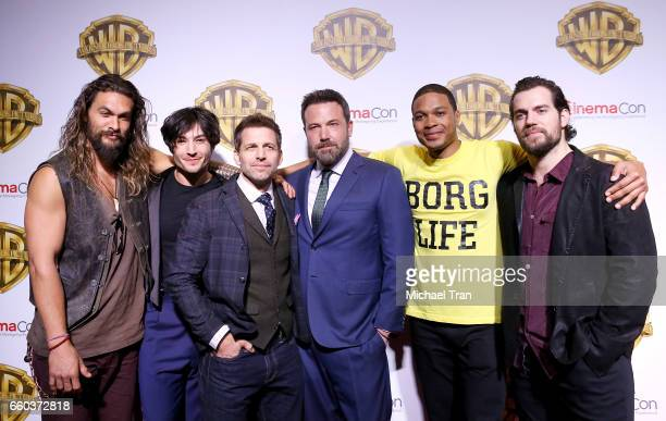 Ray Fisher Ezra Miller director Zack Snyder Henry Cavill Ben Affleck and Jason Momoa attend the CinemaCon 2017 Warner Bros Pictures presentation held...