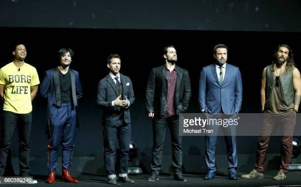 Ray Fisher Ezra Miller director Zack Snyder Henry Cavill Ben Affleck and Jason Momoa speak onstage at the CinemaCon 2017 Warner Bros Pictures...