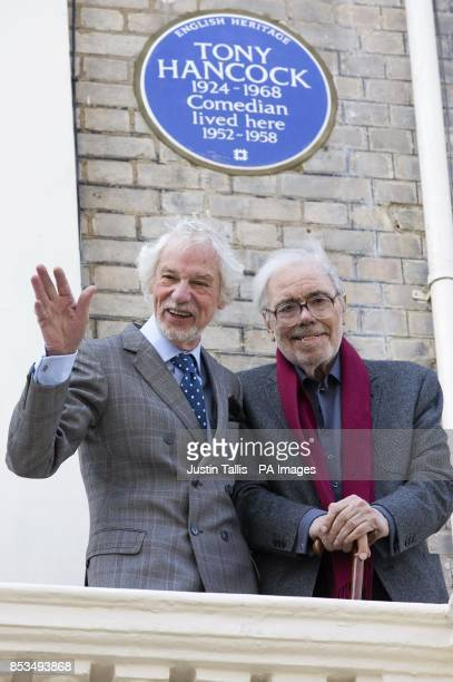 Ray Galton and Alan Simpson in front of an English Heritage blue plaque at the unveiling outside 20 Queen's Gate Place London which commemorates...