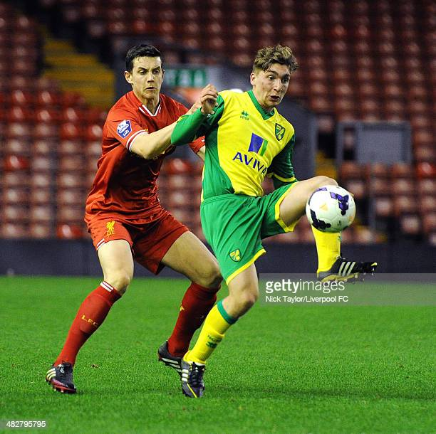 Ray Grant of Norwich and Jordan Williams of Liverpool in action during the Barclays Premier League Under 21 fixture between Liverpool and Norwich...