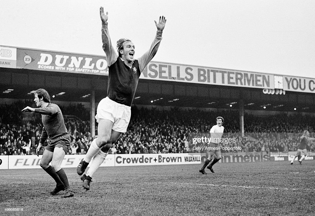 Ray Graydon celebrates after scoring for Aston Villa during their match against Bolton Wanderers at Villa Park in Birmingham, 18th December 1971.
