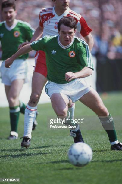 Ray Houghton of the Republic of Ireland makes a run with the ball during the UEFA Euro 1992 qualifying group 7 match between Republic of Ireland and...