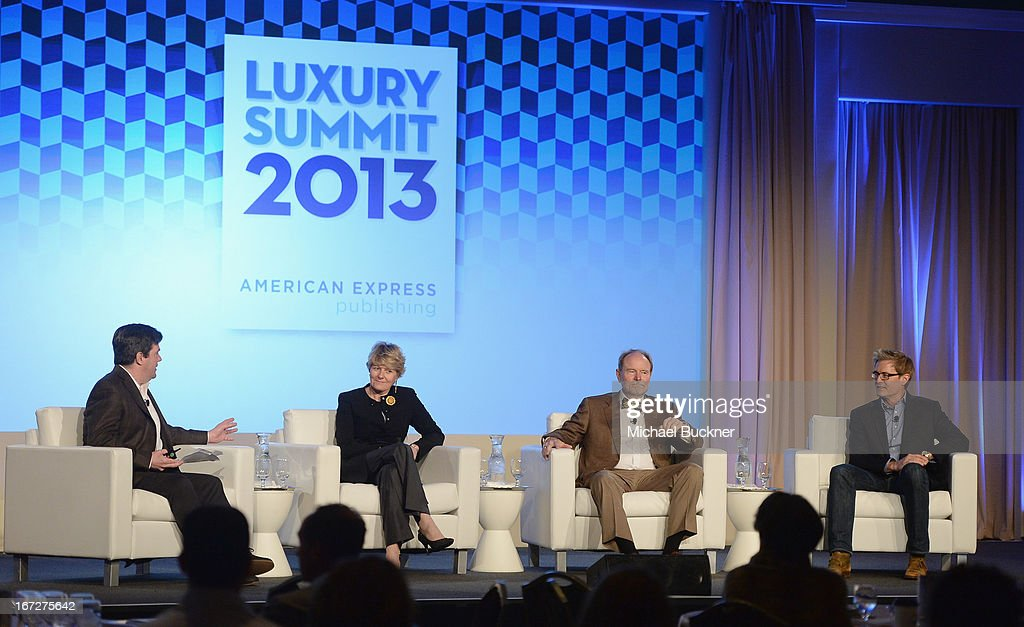 Ray Isle, Executive Wine Editor, Food & Wine; Cecile Bonnefond, CEO, Piper-Heidsieck, Charles Heidsieck; Joel Peterson, Founding Winemaker, Ravenswood Winery and actor <a gi-track='captionPersonalityLinkClicked' href=/galleries/search?phrase=Kyle+MacLachlan&family=editorial&specificpeople=213038 ng-click='$event.stopPropagation()'>Kyle MacLachlan</a> speak onstage during The American Express Publishing Luxury Summit 2013 at St. Regis Monarch Beach Resort on April 23, 2013 in Dana Point, California.