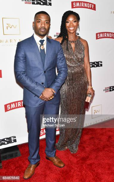 Ray J and Brandy arrive at Primary Wave Hosts Their 11th Annual PreGrammy In Partnership With Smirnoff Vodka at The London West Hollywood on February...