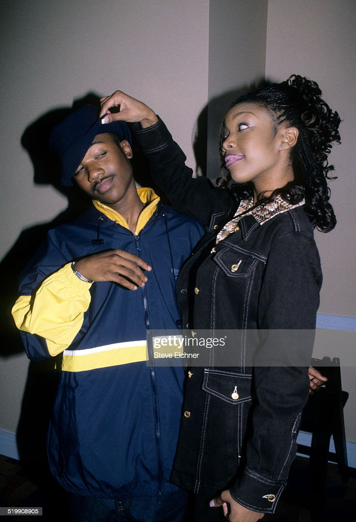 Ray J and Brandy Norwood backstage at Life Cafe New York March 19 1997