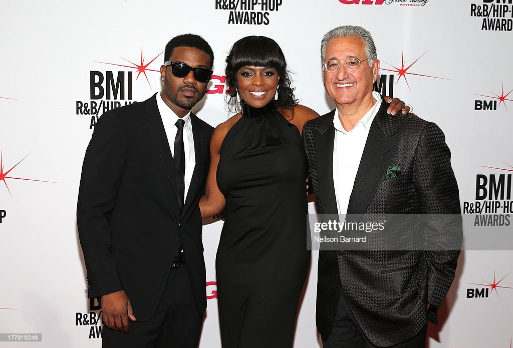 Ray J, BMI Vice President Catherine Brewton and BMI President and CEO, <a gi-track='captionPersonalityLinkClicked' href=/galleries/search?phrase=Del+Bryant&family=editorial&specificpeople=239201 ng-click='$event.stopPropagation()'>Del Bryant</a> onstage at the 2013 BMI R&B/Hip-Hop Awards at Hammerstein Ballroom on August 22, 2013 in New York City.