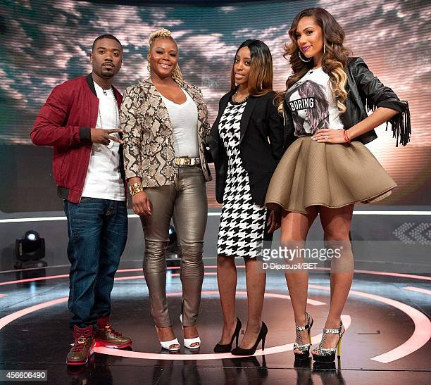 Ray J Claire Sulmers Amani and Erica Mena attend BET's 106 Park at BET studios on October 1 2014 in New York City