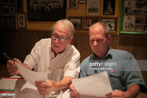 Ray Jaffke left a member since 1967 and his son Todd Jaffke discuss picks during Oakland Professional Pigskin Prognosticators League's annual fantasy...