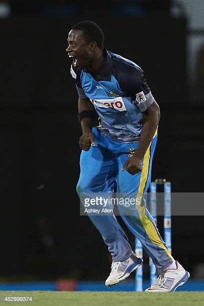 Ray Jordan celebrates during a match between St Lucia Zouks and Barbados Tridents as part of week 4 of the Limacol Caribbean Premier League 2014 at...