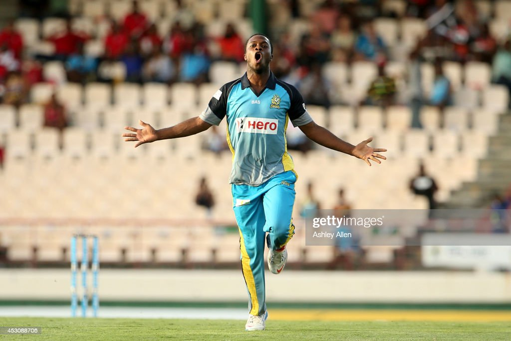Ray Jordan of St. Lucia Zouks celebrates during a match between St. Lucia Zouks and The Trinidad and Tobago Red Steel as part of week 4 of the Limacol Caribbean Premier League 2014 at Beausejour Stadium on August 02, 2014 in Castries, St. Lucia.