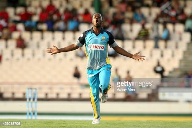 Ray Jordan of St Lucia Zouks celebrates during a match between St Lucia Zouks and The Trinidad and Tobago Red Steel as part of week 4 of the Limacol...