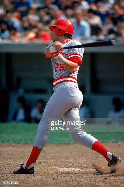 Ray Knight of the Cincinnati Reds follows through on a swing during a 1979 season game