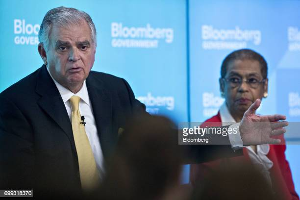 Ray LaHood former US secretary of transportation speaks as Representative Eleanor Holmes Norton a Democrat from the District of Columbia left listens...