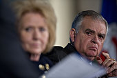 Ray LaHood former US secretary of transportation under the Barack Obama administration right listens during a panel discussion for an Infrastructure...