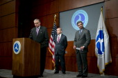 Ray LaHood US secretary of transportation left to right Michael Huerta administrator of the Federal Aviation Administration and Ray Conner president...
