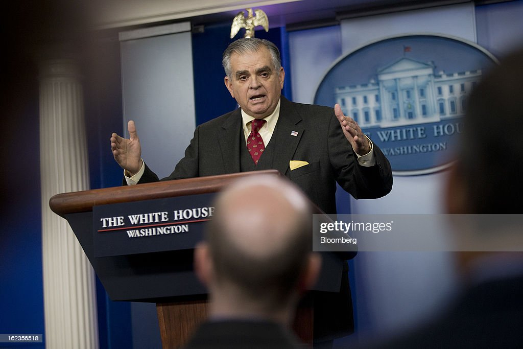 <a gi-track='captionPersonalityLinkClicked' href=/galleries/search?phrase=Ray+LaHood&family=editorial&specificpeople=598728 ng-click='$event.stopPropagation()'>Ray LaHood</a>, U.S. secretary of transportation, speaks in the Brady Press Briefing Room at the White House in Washington, D.C., U.S., on Friday, Feb. 22, 2013. Automatic U.S. spending cuts that will begin March 1 will lead to flight delays of 90 minutes at airports in New York and Chicago, LaHood said. Photographer: Andrew Harrer/Bloomberg via Getty Images