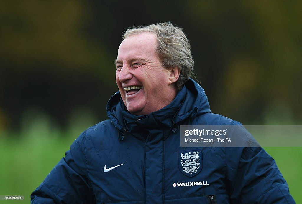 <a gi-track='captionPersonalityLinkClicked' href=/galleries/search?phrase=Ray+Lewington&family=editorial&specificpeople=224730 ng-click='$event.stopPropagation()'>Ray Lewington</a> assistant manager of England smiles during an England training session, ahead of the UEFA European Championship qualifier match against Slovenia, at St Georges Park on November 14, 2014 in Burton-upon-Trent, England.