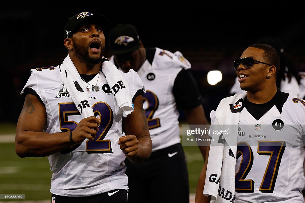 Ray Lewis #52 and Ray Rice #27 of the Baltimore Ravens walk out to the podiums during Super Bowl XLVII Media Day ahead of Super Bowl XLVII at the Mercedes-Benz Superdome on January 29, 2013 in New Orleans, Louisiana. The San Francisco 49ers will take on the Baltimore Ravens on February 3, 2013 at the Mercedes-Benz Superdome.