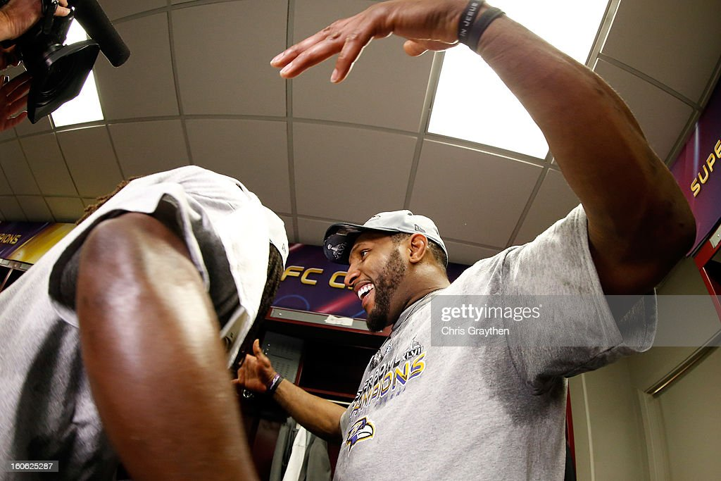Ray Lewis #52 celebrates with teammate Dannell Ellerbe #59 of the Baltimore Ravens in the locker room following their 34-31 win against the San Francisco 49ers during Super Bowl XLVII at the Mercedes-Benz Superdome on February 3, 2013 in New Orleans, Louisiana.