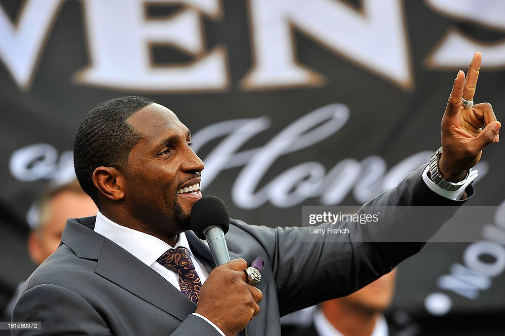 Ray Lewis, former linebacker for the Baltimore Ravens, speaks as he is inducted into the Ring of Honor at halftime during the game between the Baltimore Ravens and the Houston Texans at M&T Bank Stadium on September 22, 2013 in Baltimore, Maryland. The Ravens defeated the Texans 30-9.