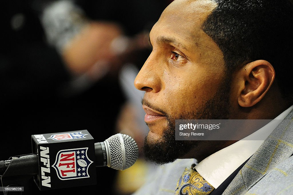 Ray Lewis, linebacker for the Baltimore Ravens speaks to the media during a media availability session for Super Bowl XLVII at the Hilton New Orleans Riverside on January 28, 2013 in New Orleans, Louisiana.