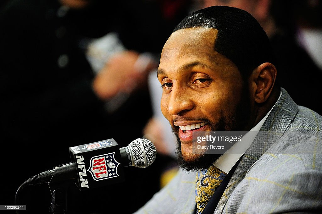 <a gi-track='captionPersonalityLinkClicked' href=/galleries/search?phrase=Ray+Lewis&family=editorial&specificpeople=171809 ng-click='$event.stopPropagation()'>Ray Lewis</a>, linebacker for the Baltimore Ravens speaks to the media during a media availability session for Super Bowl XLVII at the Hilton New Orleans Riverside on January 28, 2013 in New Orleans, Louisiana.