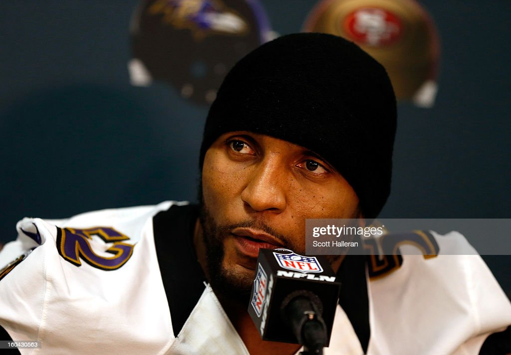 <a gi-track='captionPersonalityLinkClicked' href=/galleries/search?phrase=Ray+Lewis&family=editorial&specificpeople=171809 ng-click='$event.stopPropagation()'>Ray Lewis</a> #52 of the Baltimore Ravens addresses the media during Super Bowl XLVII Media Availability at the Hilton New Orleans Riverside on January 31, 2013 in New Orleans, Louisiana. The Ravens will take on the San Francisco 49ers on February 3, 2013 at the Mercedes-Benz Superdome.