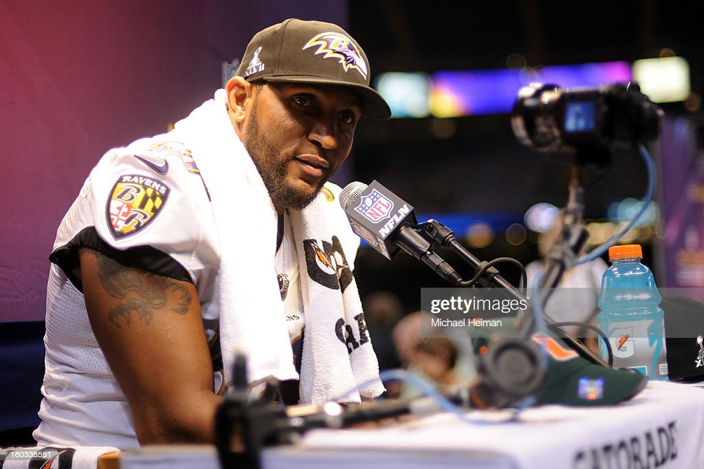 Ray Lewis #52 of the Baltimore Ravens answers questions from the media during Super Bowl XLVII Media Day ahead of Super Bowl XLVII at the Mercedes-Benz Superdome on January 29, 2013 in New Orleans, Louisiana. The San Francisco 49ers will take on the Baltimore Ravens on February 3, 2013 at the Mercedes-Benz Superdome.