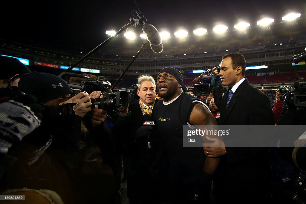 <a gi-track='captionPersonalityLinkClicked' href=/galleries/search?phrase=Ray+Lewis&family=editorial&specificpeople=171809 ng-click='$event.stopPropagation()'>Ray Lewis</a> #52 of the Baltimore Ravens celebrates after defeating the New England Patriots in the 2013 AFC Championship game at Gillette Stadium on January 20, 2013 in Foxboro, Massachusetts. The Baltimore Ravens defeated the New England Patriots 28-13.