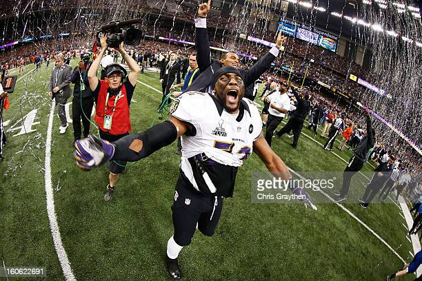 Ray Lewis of the Baltimore Ravens celebrates after defeating the San Francisco 49ers during Super Bowl XLVII at the MercedesBenz Superdome on...