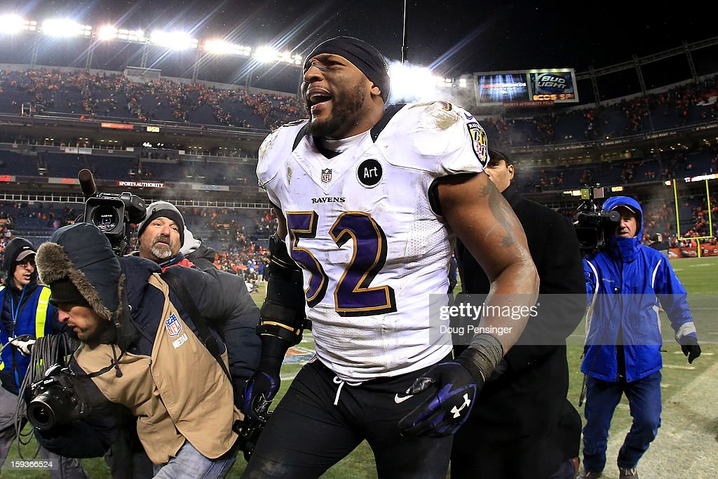Ray Lewis #52 of the Baltimore Ravens celebrates as he walks off of the field after the Ravens won 38-35 in the second overtime against the Denver Broncos during the AFC Divisional Playoff Game at Sports Authority Field at Mile High on January 12, 2013 in Denver, Colorado.