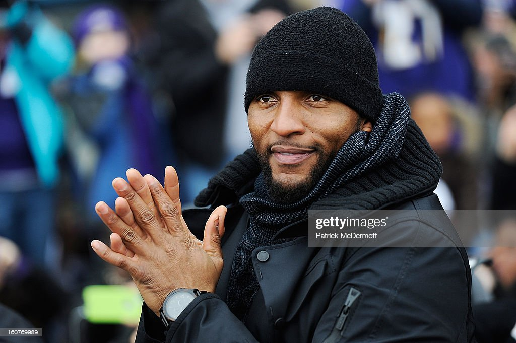 Ray Lewis #52 of the Baltimore Ravens celebrates with his teammates as they celebrate during their Super Bowl XLVII victory parade on February 5, 2013 in Baltimore, Maryland. The Baltimore Ravens captured their second Super Bowl title by defeating the San Francisco 49ers.