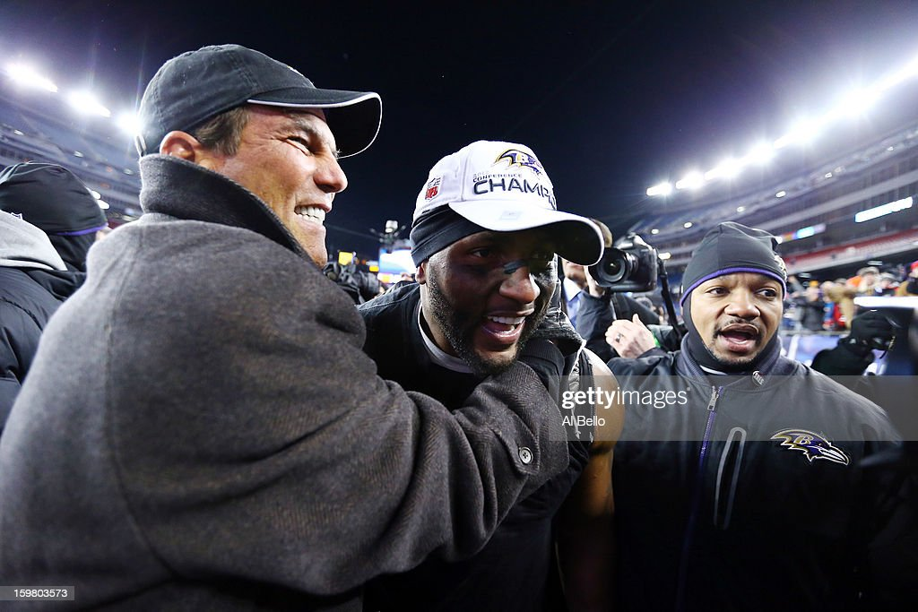 Ray Lewis #52 of the Baltimore Ravens celebrates with owner Steve Bisciotti after defeating the New England Patriots in the 2013 AFC Championship game at Gillette Stadium on January 20, 2013 in Foxboro, Massachusetts. The Baltimore Ravens defeated the New England Patriots 28-13.