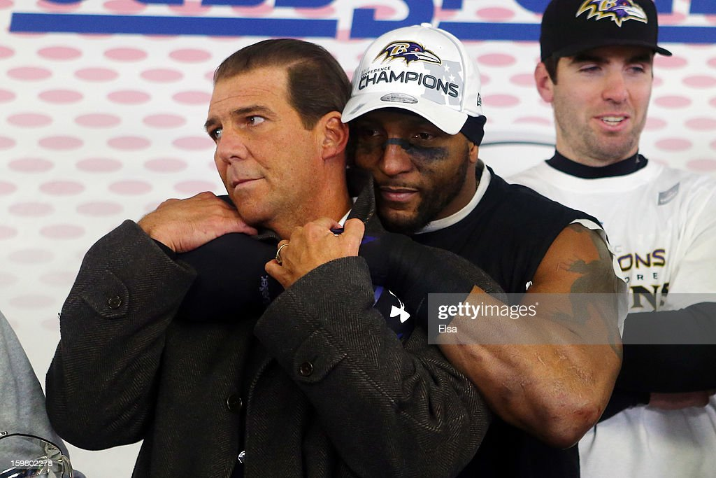 <a gi-track='captionPersonalityLinkClicked' href=/galleries/search?phrase=Ray+Lewis&family=editorial&specificpeople=171809 ng-click='$event.stopPropagation()'>Ray Lewis</a> #52 of the Baltimore Ravens celebrates with owner <a gi-track='captionPersonalityLinkClicked' href=/galleries/search?phrase=Steve+Bisciotti&family=editorial&specificpeople=3079316 ng-click='$event.stopPropagation()'>Steve Bisciotti</a> in the locker room after defeating the New England Patriots in the 2013 AFC Championship game at Gillette Stadium on January 20, 2013 in Foxboro, Massachusetts. The Baltimore Ravens defeated the New England Patriots 28-13.