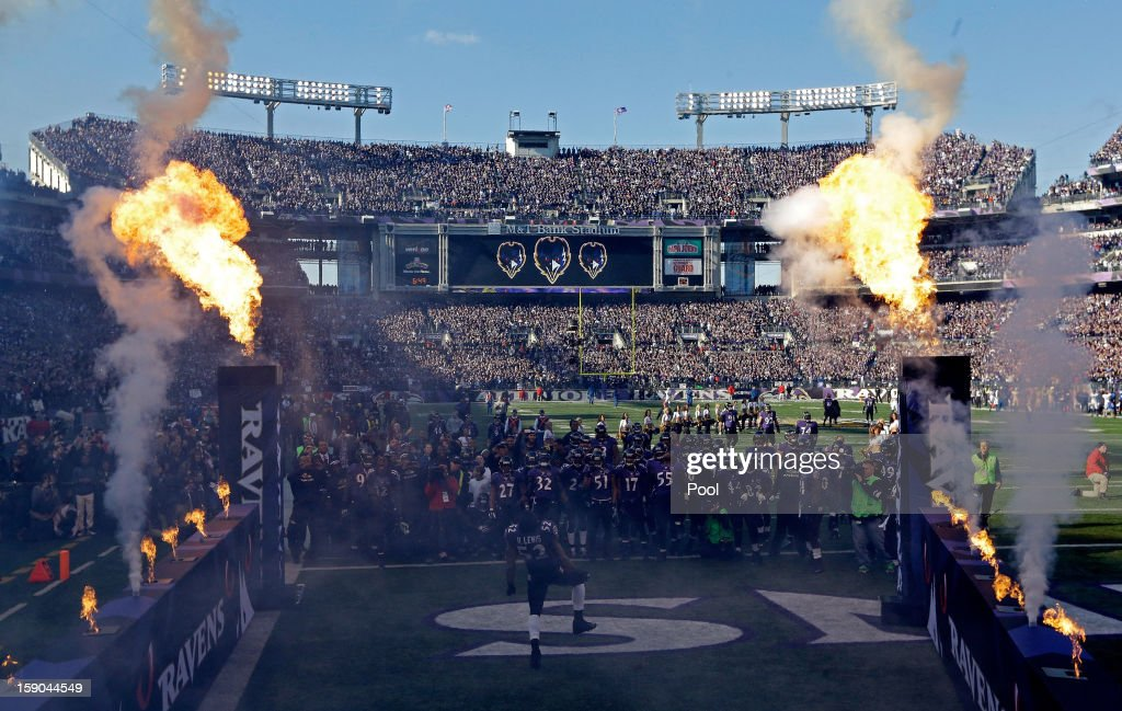 <a gi-track='captionPersonalityLinkClicked' href=/galleries/search?phrase=Ray+Lewis&family=editorial&specificpeople=171809 ng-click='$event.stopPropagation()'>Ray Lewis</a> #52 of the Baltimore Ravens dances in front of his teammates on the field during player introductions against the Indianapolis Colts during the AFC Wild Card Playoff Game at M&T Bank Stadium on January 6, 2013 in Baltimore, Maryland.