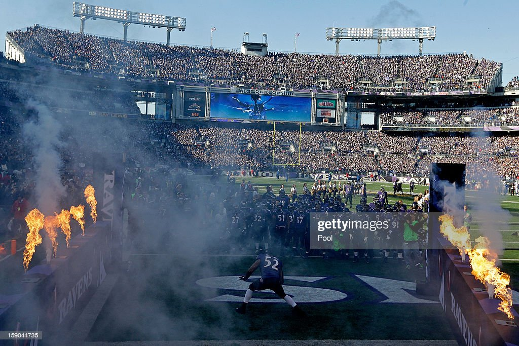Ray Lewis #52 of the Baltimore Ravens dances in front of his teammates on the field during player introductions against the Indianapolis Colts during the AFC Wild Card Playoff Game at M&T Bank Stadium on January 6, 2013 in Baltimore, Maryland.