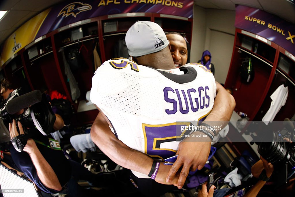 Ray Lewis #52 of the Baltimore Ravens hugs teammate Terrell Suggs #55 in the locker room following their 34-31 win against the San Francisco 49ers during Super Bowl XLVII at the Mercedes-Benz Superdome on February 3, 2013 in New Orleans, Louisiana.