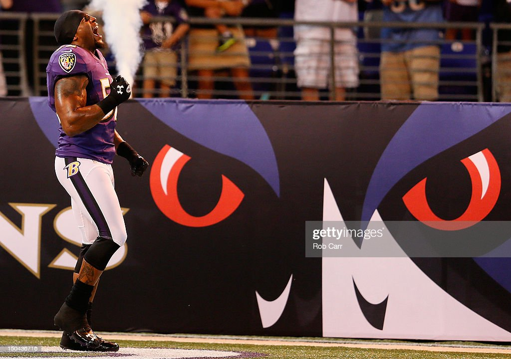 <a gi-track='captionPersonalityLinkClicked' href=/galleries/search?phrase=Ray+Lewis&family=editorial&specificpeople=171809 ng-click='$event.stopPropagation()'>Ray Lewis</a> #52 of the Baltimore Ravens is introduced prior to the start of the Ravens game against the Detroit Lions at M&T Bank Stadium on August 17, 2012 in Baltimore, Maryland.