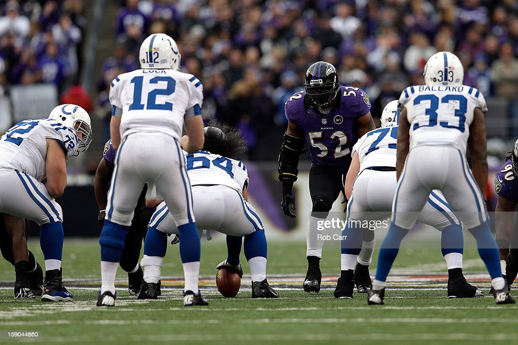 Ray Lewis #52 of the Baltimore Ravens lines up on the ball against Andrew Luck #12 of the Indianapolis Colts during the AFC Wild Card Playoff Game at M&T Bank Stadium on January 6, 2013 in Baltimore, Maryland.
