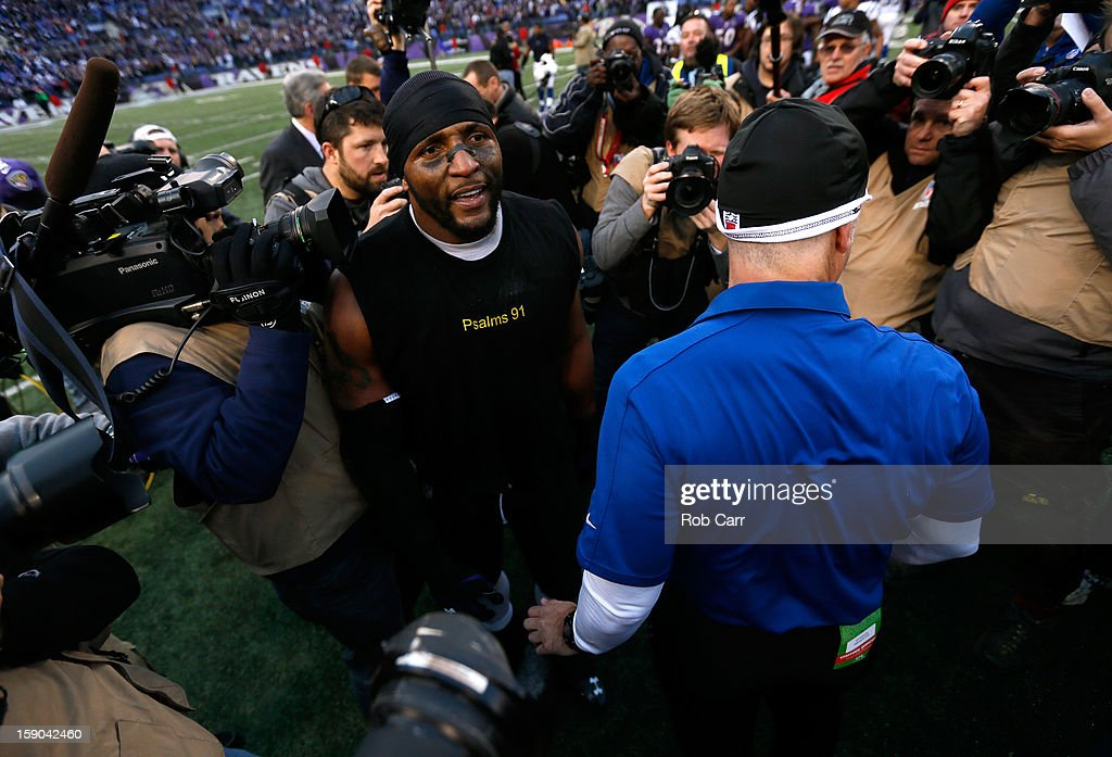 Ray Lewis #52 of the Baltimore Ravens looks on as he celebrates after the Ravens won 24-9 against the Indianapolis Colts during the AFC Wild Card Playoff Game at M&T Bank Stadium on January 6, 2013 in Baltimore, Maryland.