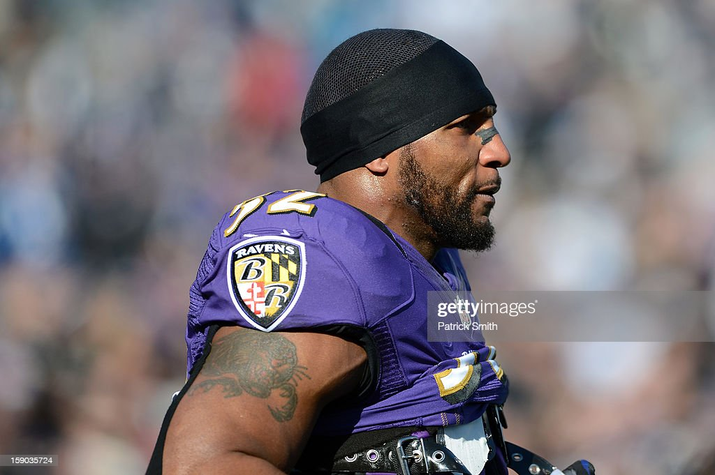 Ray Lewis #52 of the Baltimore Ravens looks on during warm ups against the Indianapolis Colts during the AFC Wild Card Playoff Game at M&T Bank Stadium on January 6, 2013 in Baltimore, Maryland.