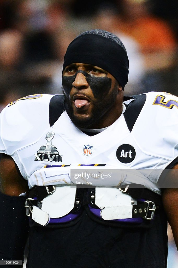 Ray Lewis #52 of the Baltimore Ravens looks on during warm ups against the San Francisco 49ers during Super Bowl XLVII at the Mercedes-Benz Superdome on February 3, 2013 in New Orleans, Louisiana.