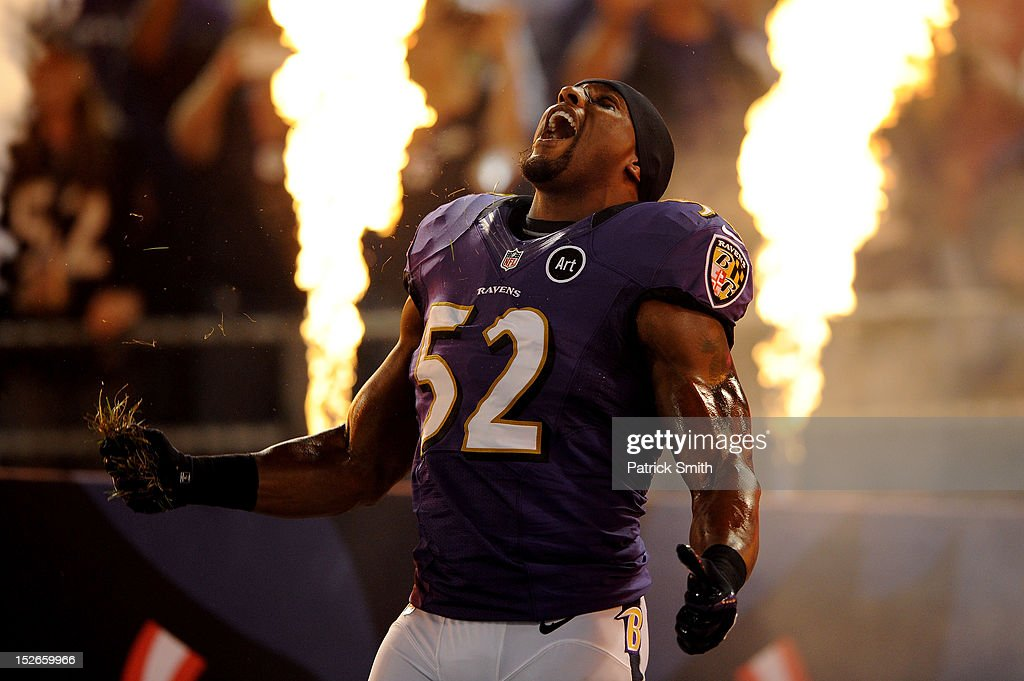 <a gi-track='captionPersonalityLinkClicked' href=/galleries/search?phrase=Ray+Lewis&family=editorial&specificpeople=171809 ng-click='$event.stopPropagation()'>Ray Lewis</a> #52 of the Baltimore Ravens takes the field during player introductions against the New England Patriots at M&T Bank Stadium on September 23, 2012 in Baltimore, Maryland.